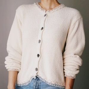 Handmade Cotton/Ramie Granny Sweater Ivory